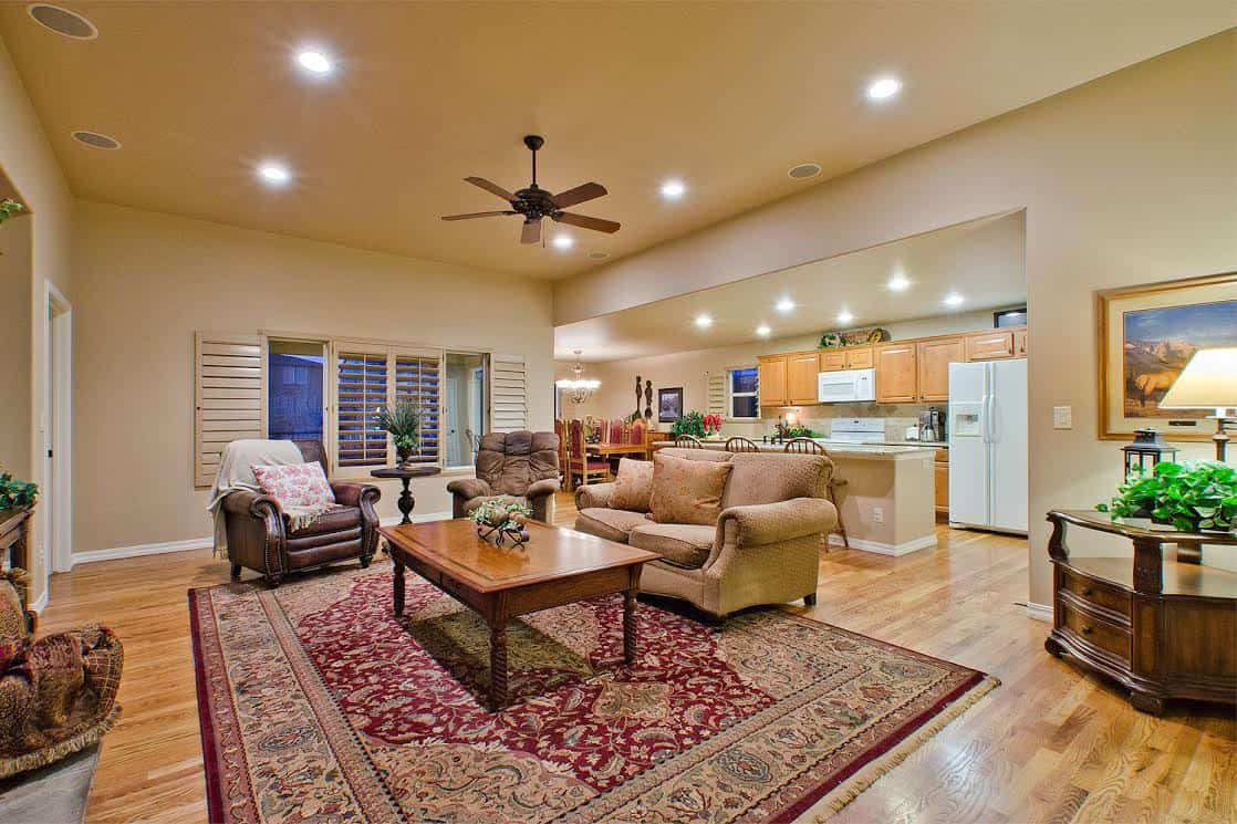 Great Room into Kitchen and Dining Area