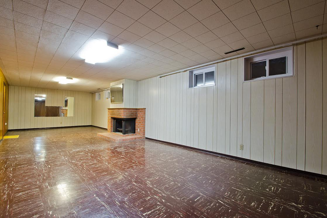 Basement Recreation Room with Fireplace