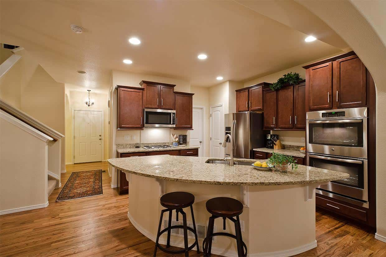 Large Curved Island Kitchen