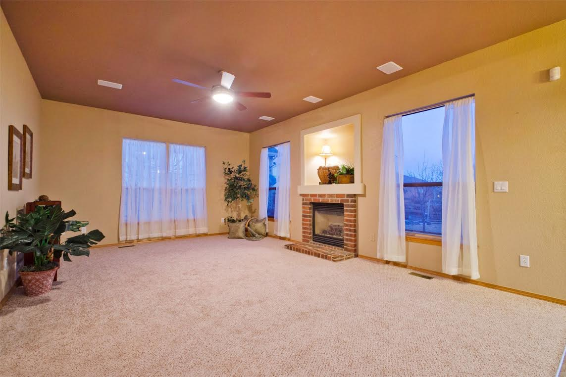 Family Room with Surround Sound and Fireplace