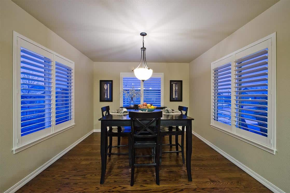 Nook off Kitchen and Great Room with Plantation Shutters