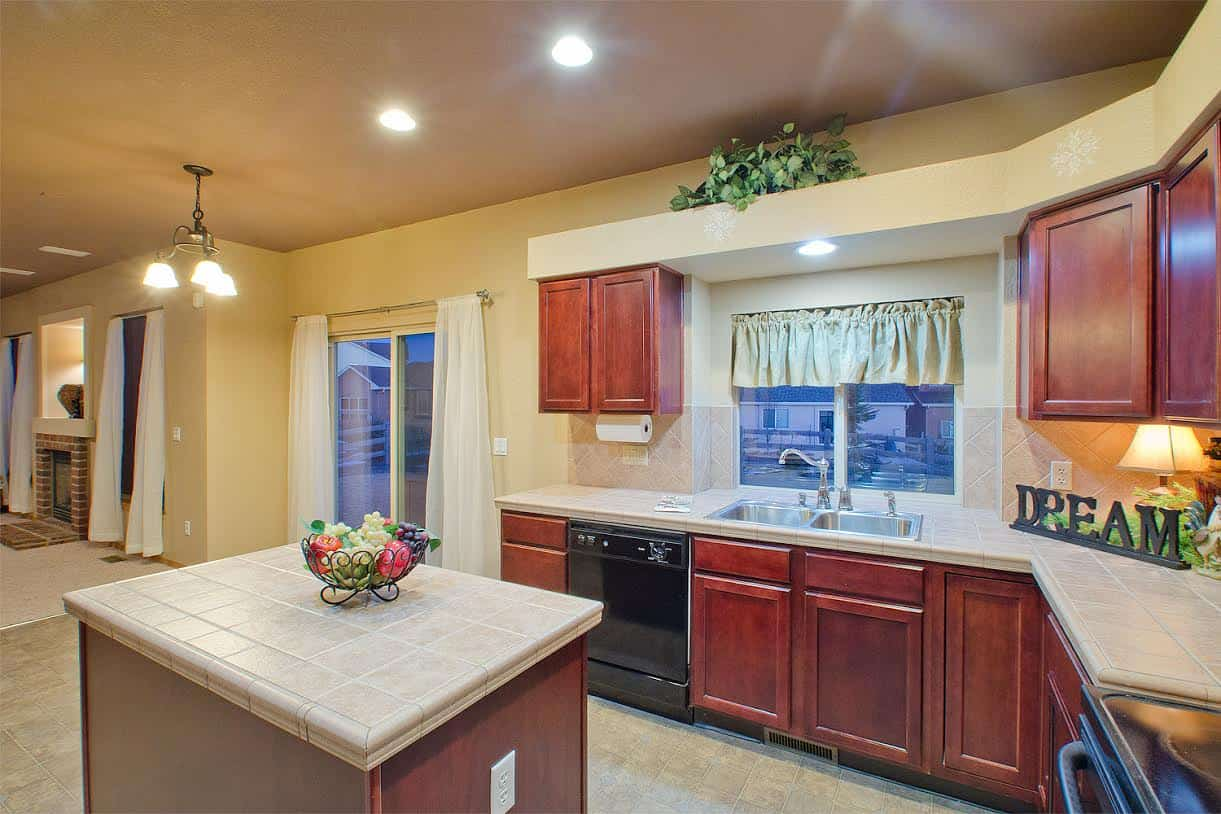 Kitchen with Island and View of Yard