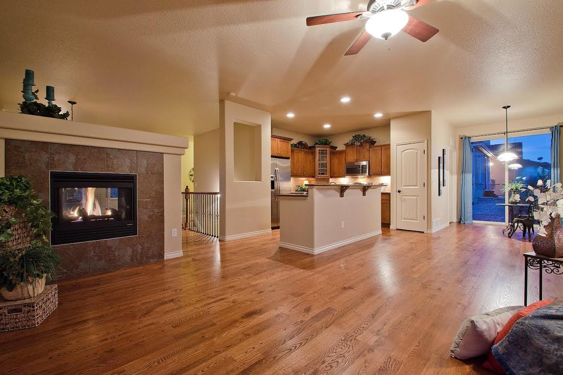 Great Room into Kitchen and Nook with Fireplace