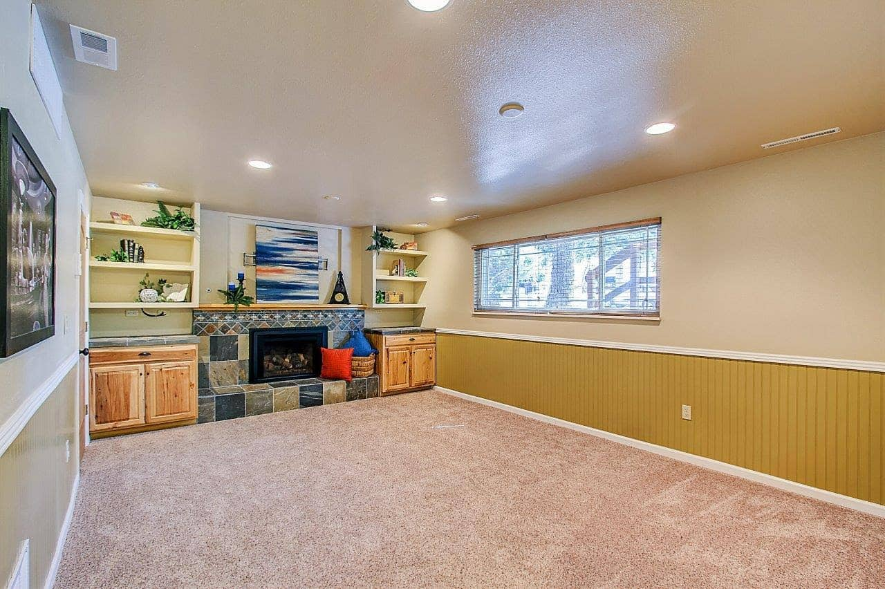 Lower Level Family Room with Builtins