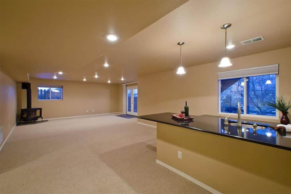 Basement Walk Out Rec Room with Wet Bar