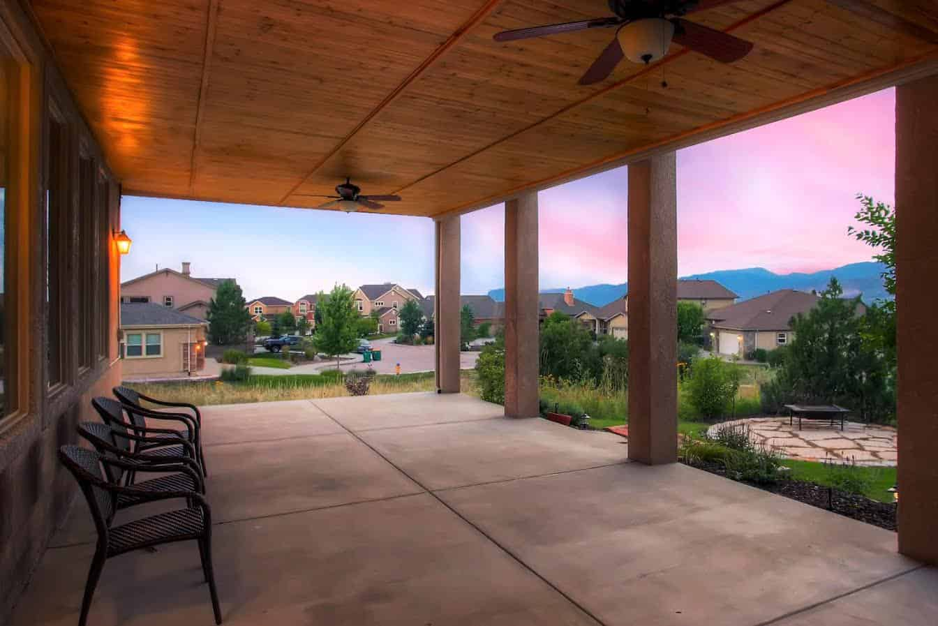 Covered Patio with Wood Ceiling and Front Range Views