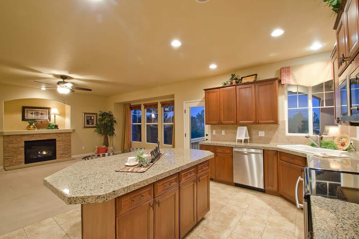 Kitchen, Great Room from Dining Room