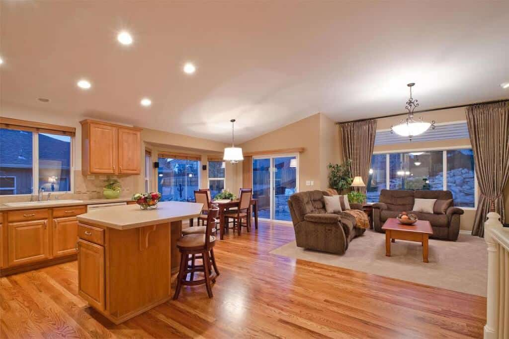 Kitchen, Great Room and Dining Room