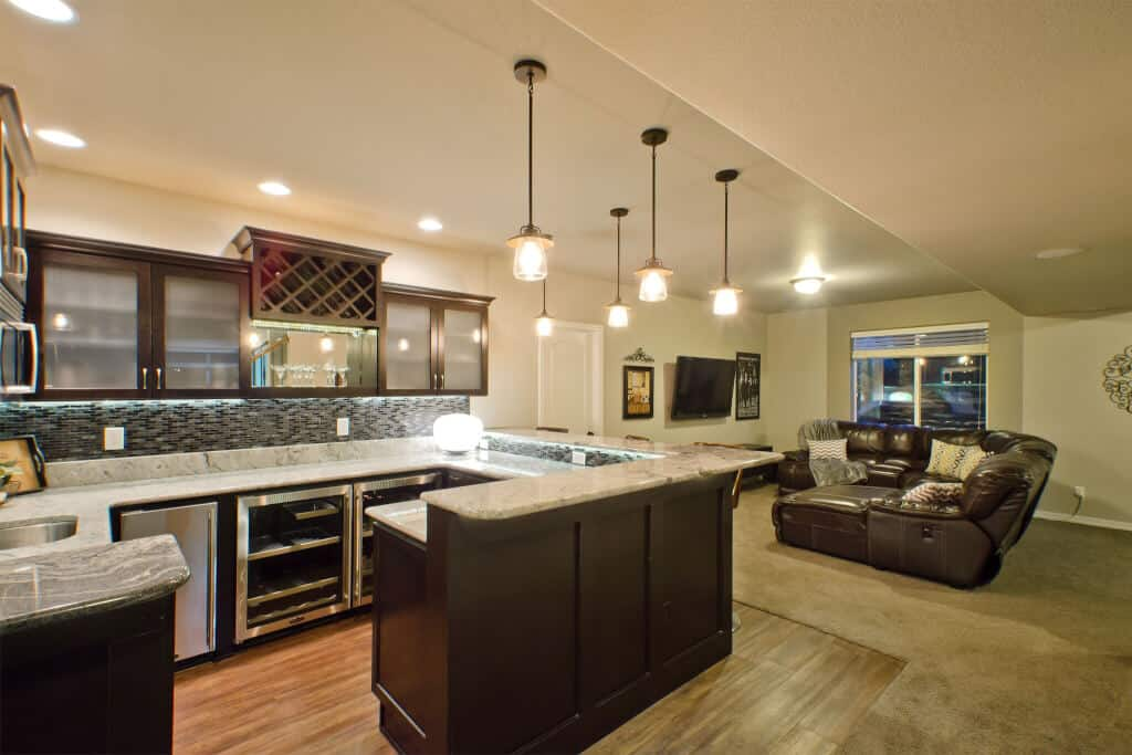 Basement Wet Bar or Kitchen and Media Room