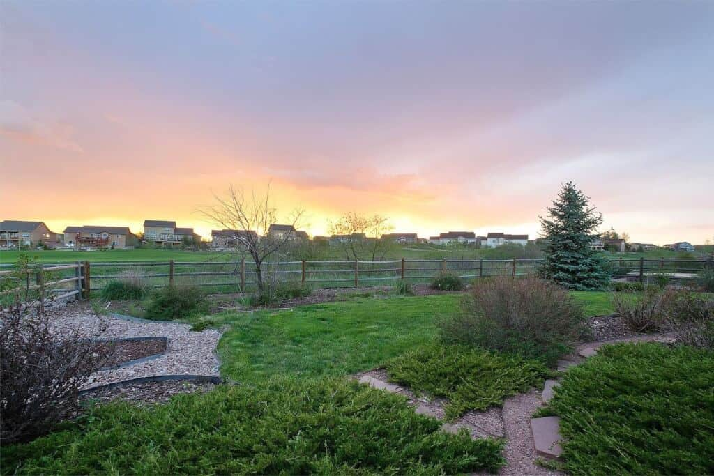 Yard overlooking Golf Course and Sunset Views