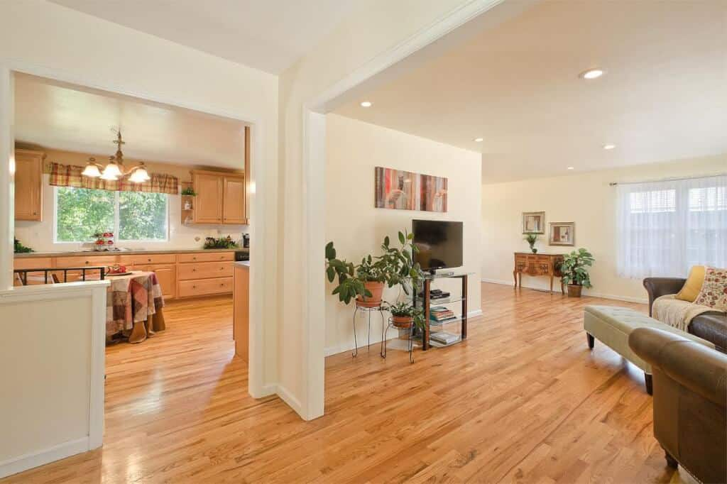 Entry into Living Room and Kitchen
