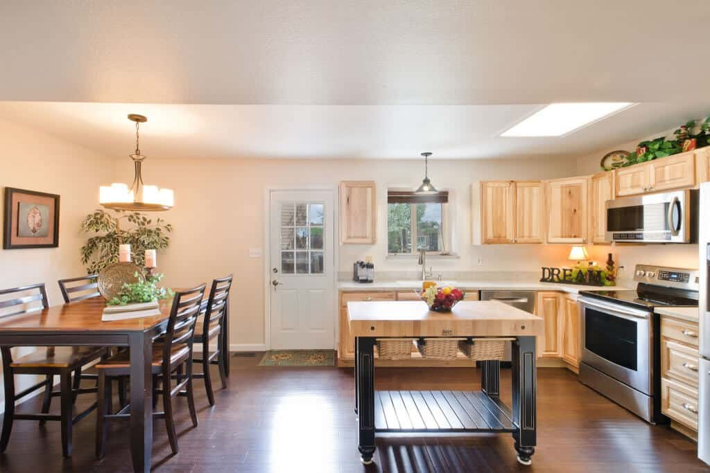 Kitchen and Dining Room with Walk Out to Backyard
