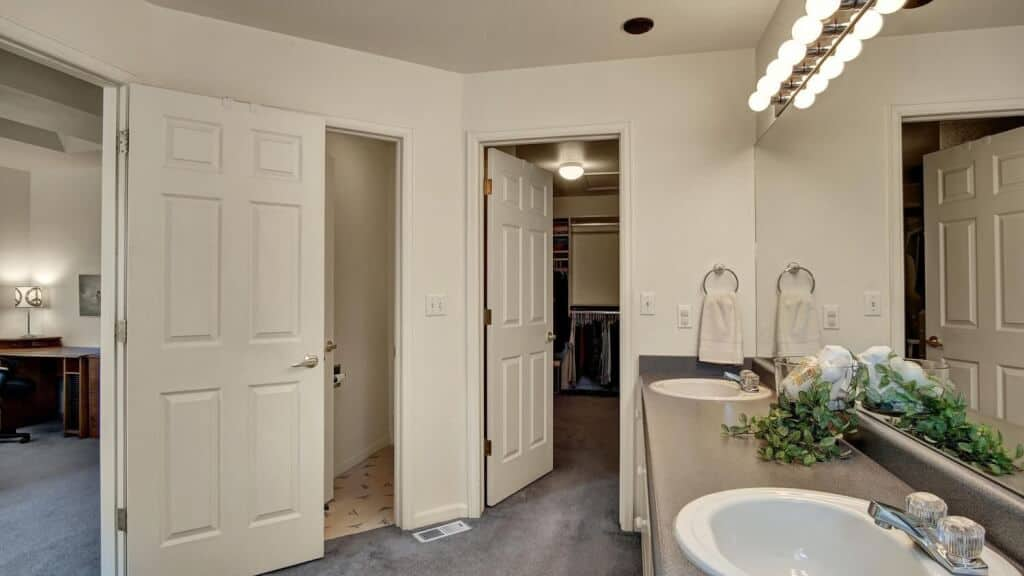 Master Bathroom with Walk-In Closet and Built-In Cabinets
