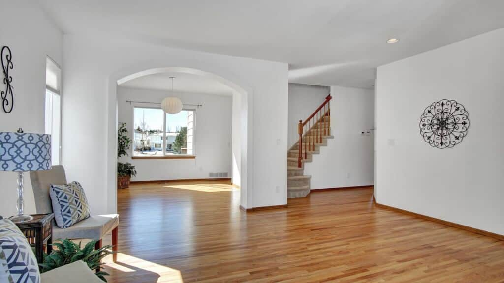 Living Room into Dining Room and Stairway