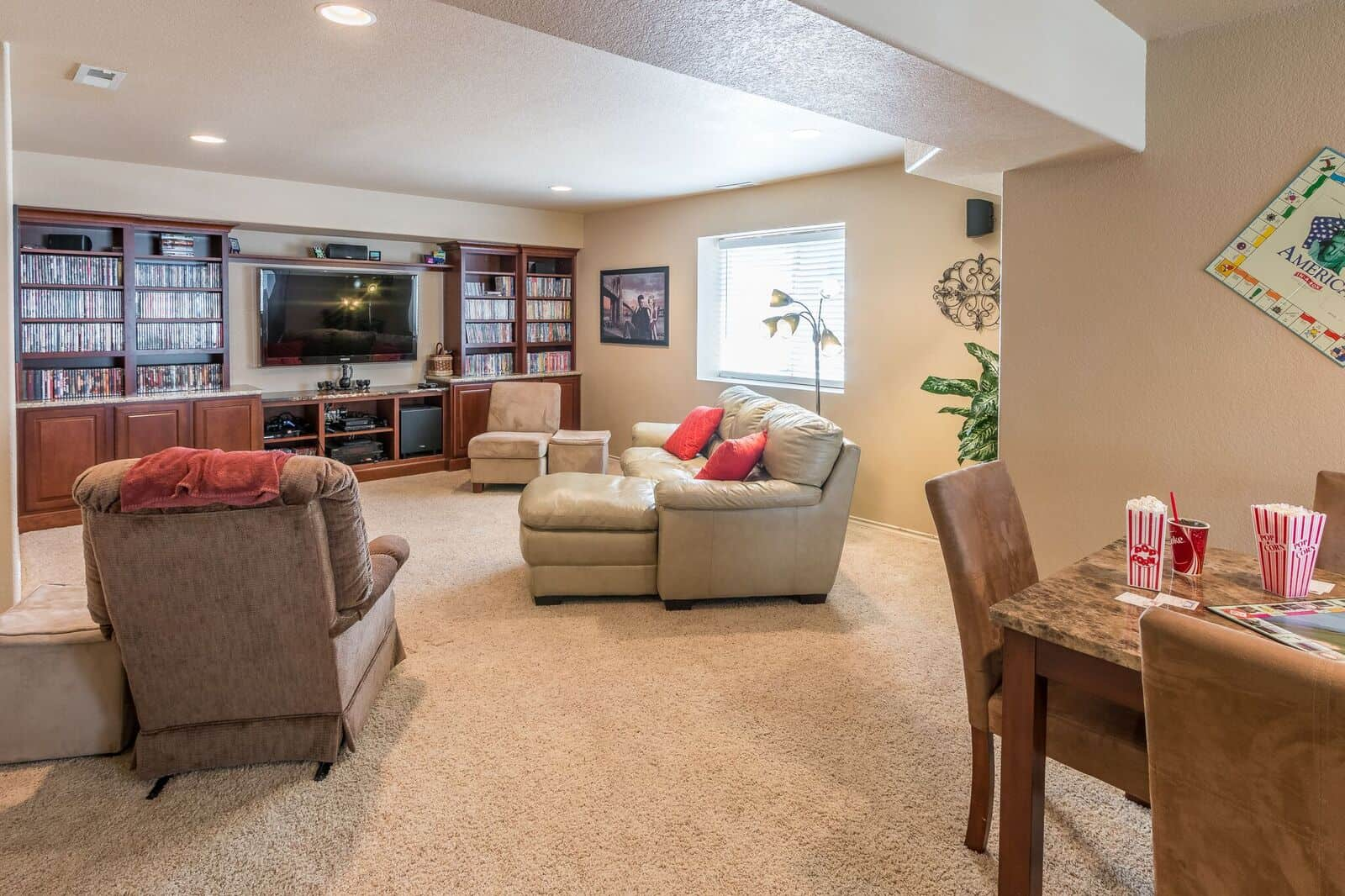 Basement Recreation Room w/Built-In Cabinetry