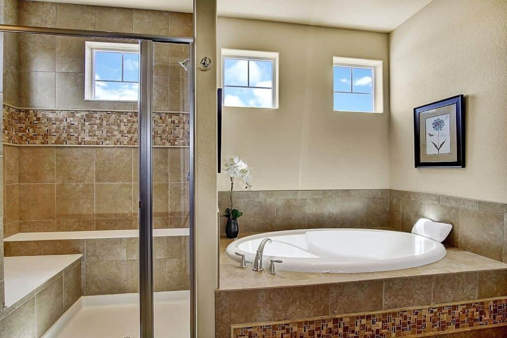 Spa Soaking Tub and Oversized Shower