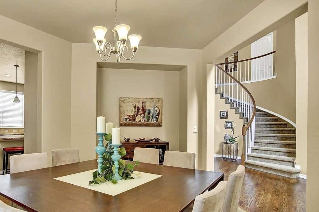 Dining Room and Curved Stairs