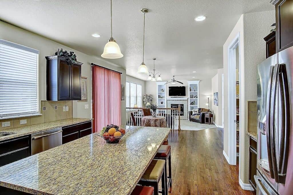 Kitchen into Nook and Great Room