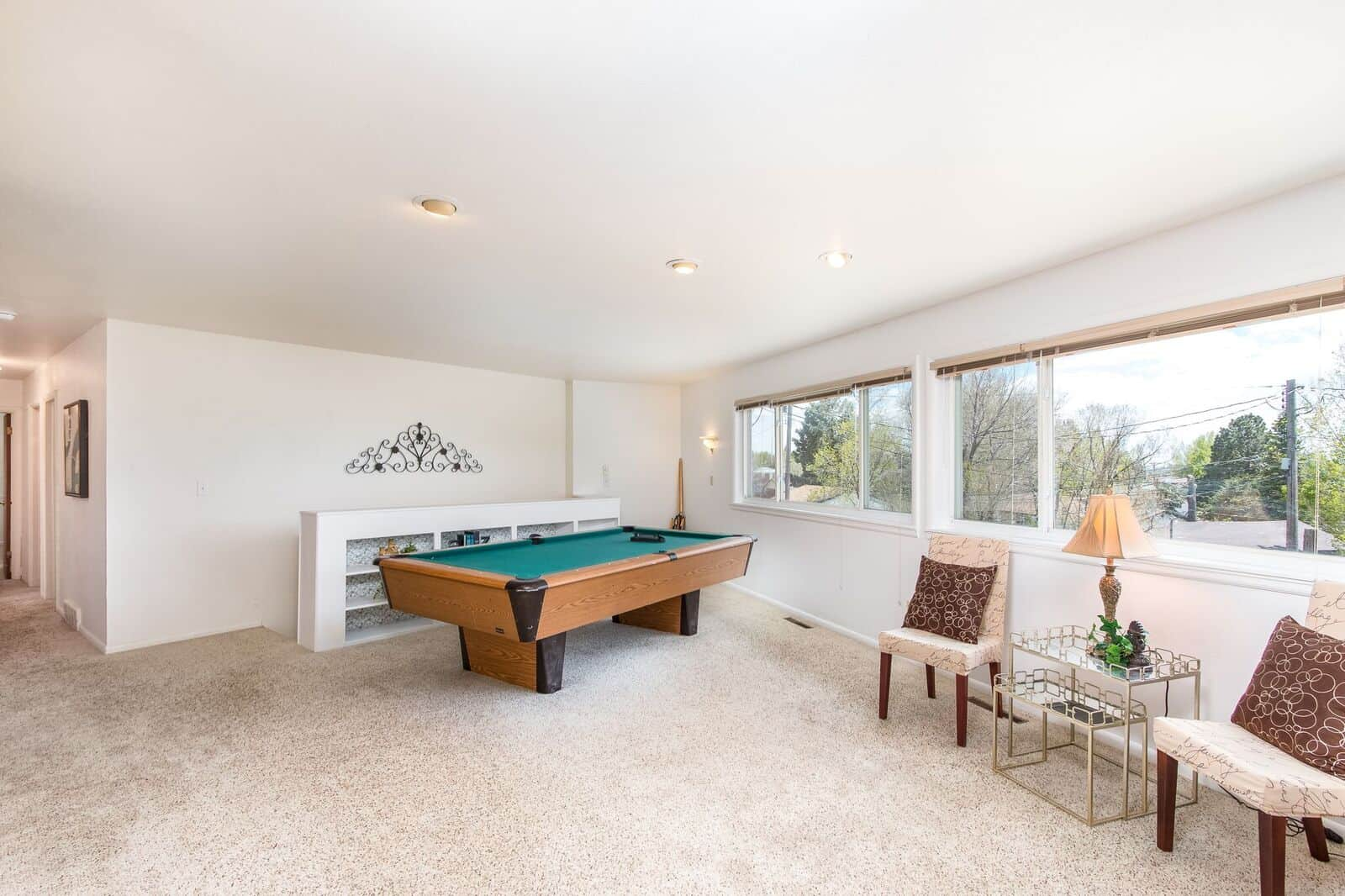 Main Level Living Room with Pool Table and Views