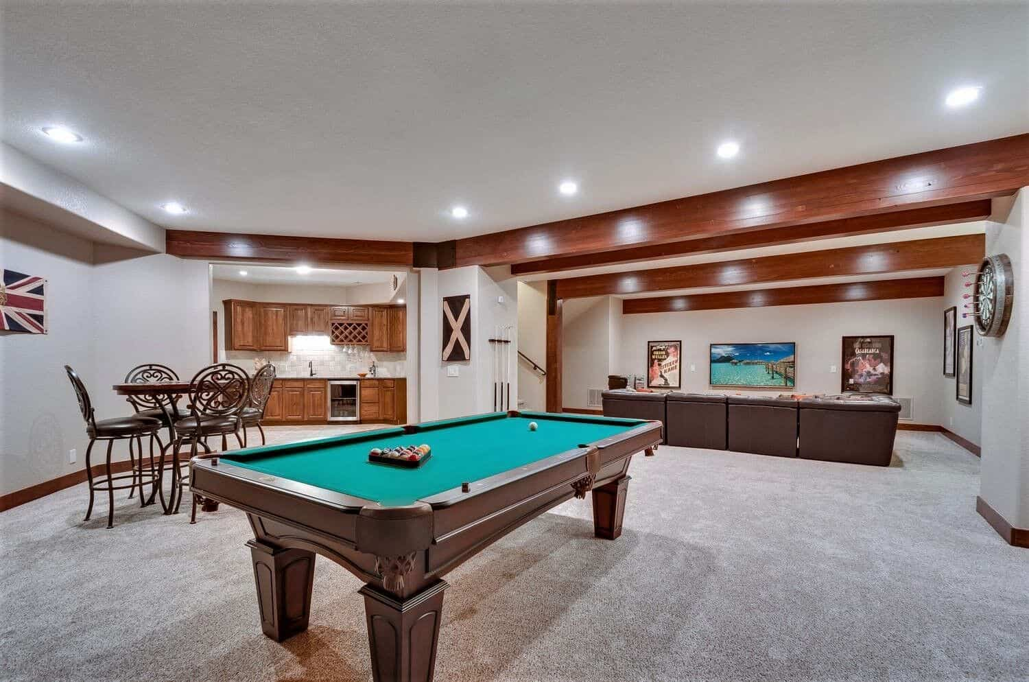 Walkout Basement with Large Wet Bar, Game Table and Media Area