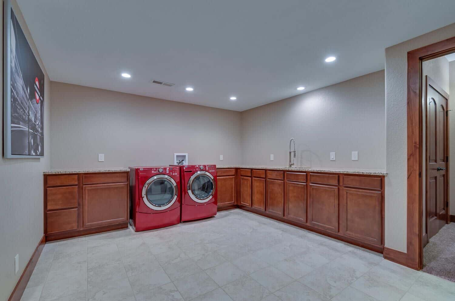 Large Basement Laundry with Sink