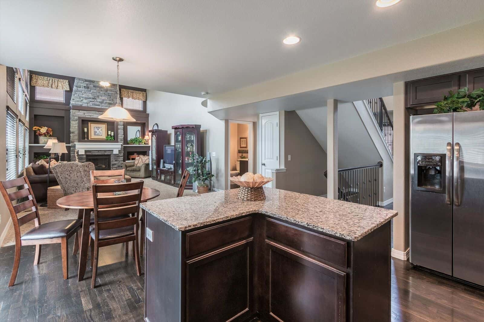 Kitchen Island into Nook and Family Room