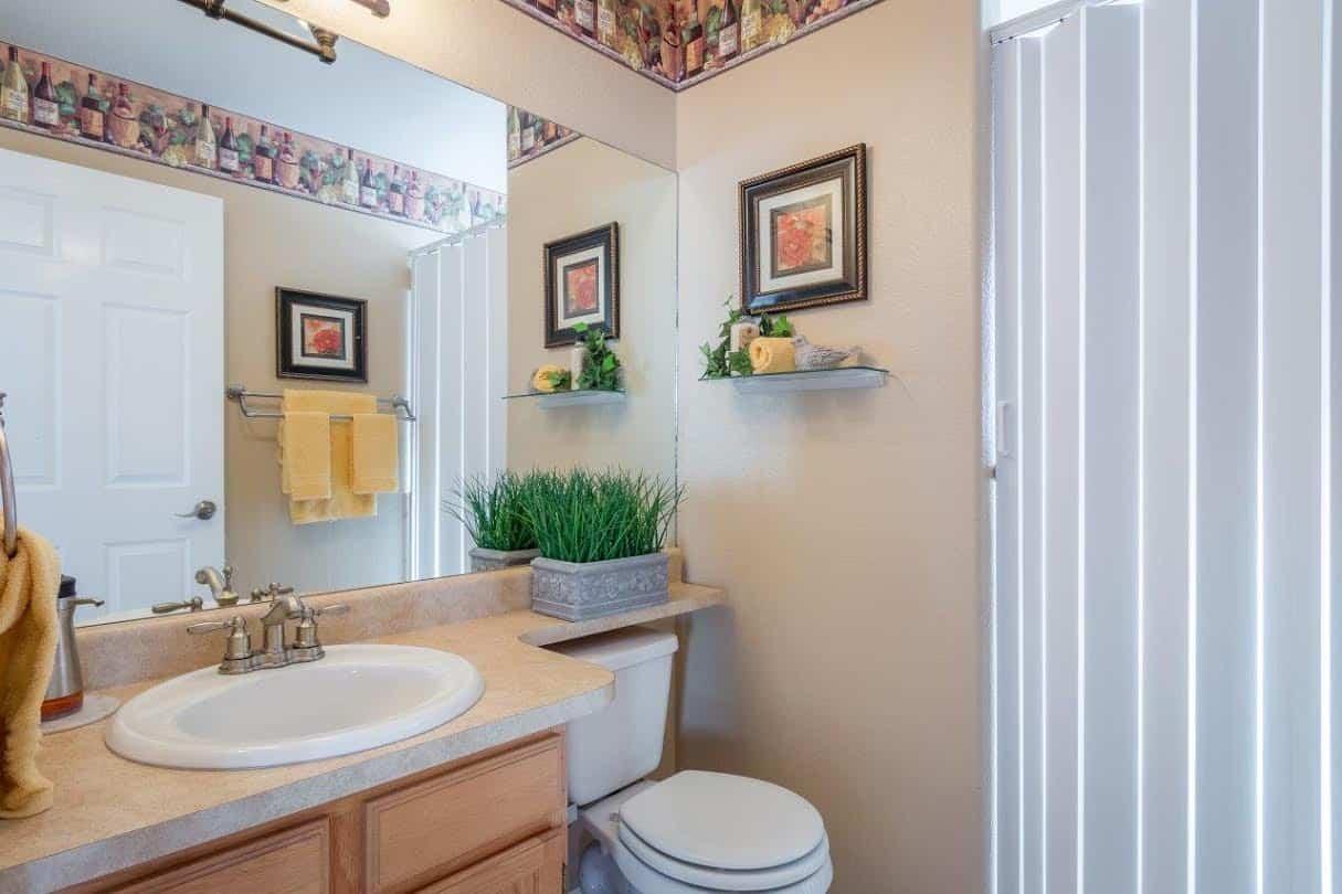Powder Bathroom and Living Room