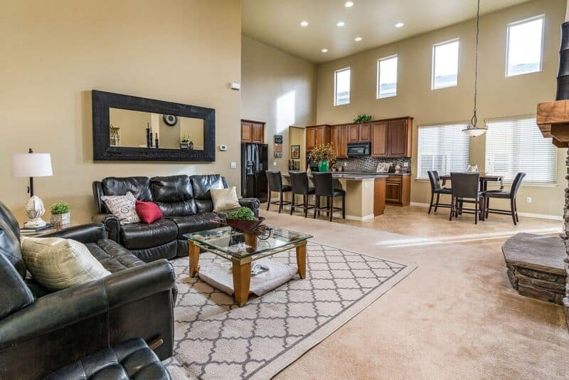 Great Room, Kitchen, and Dining Nook with High Ceilings
