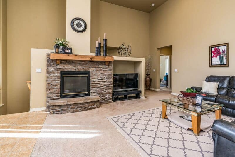 Great Room with Stacked Stone Fireplace