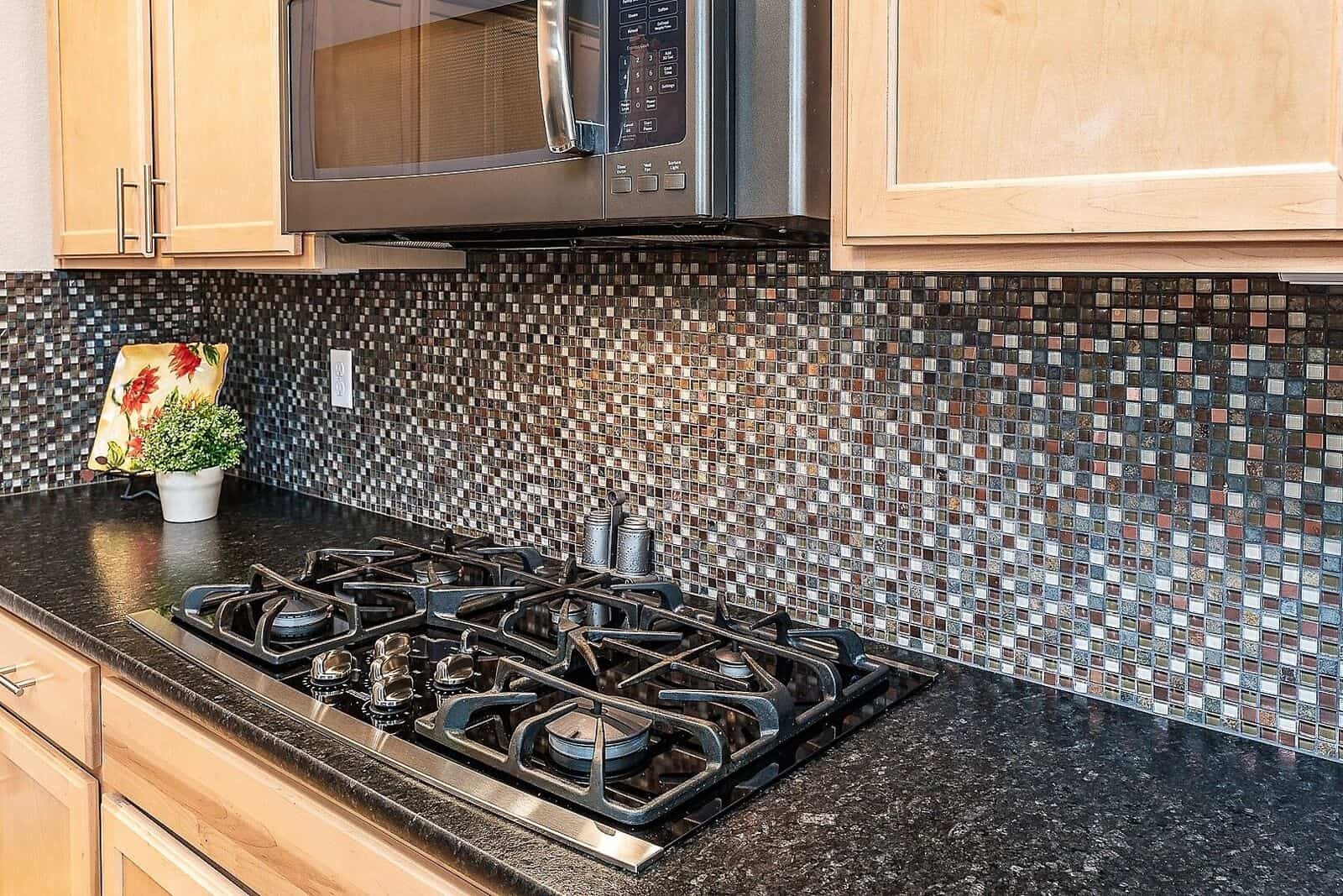 Slate Finish 5-Burner Gas Cooktop and Built-In Microwave