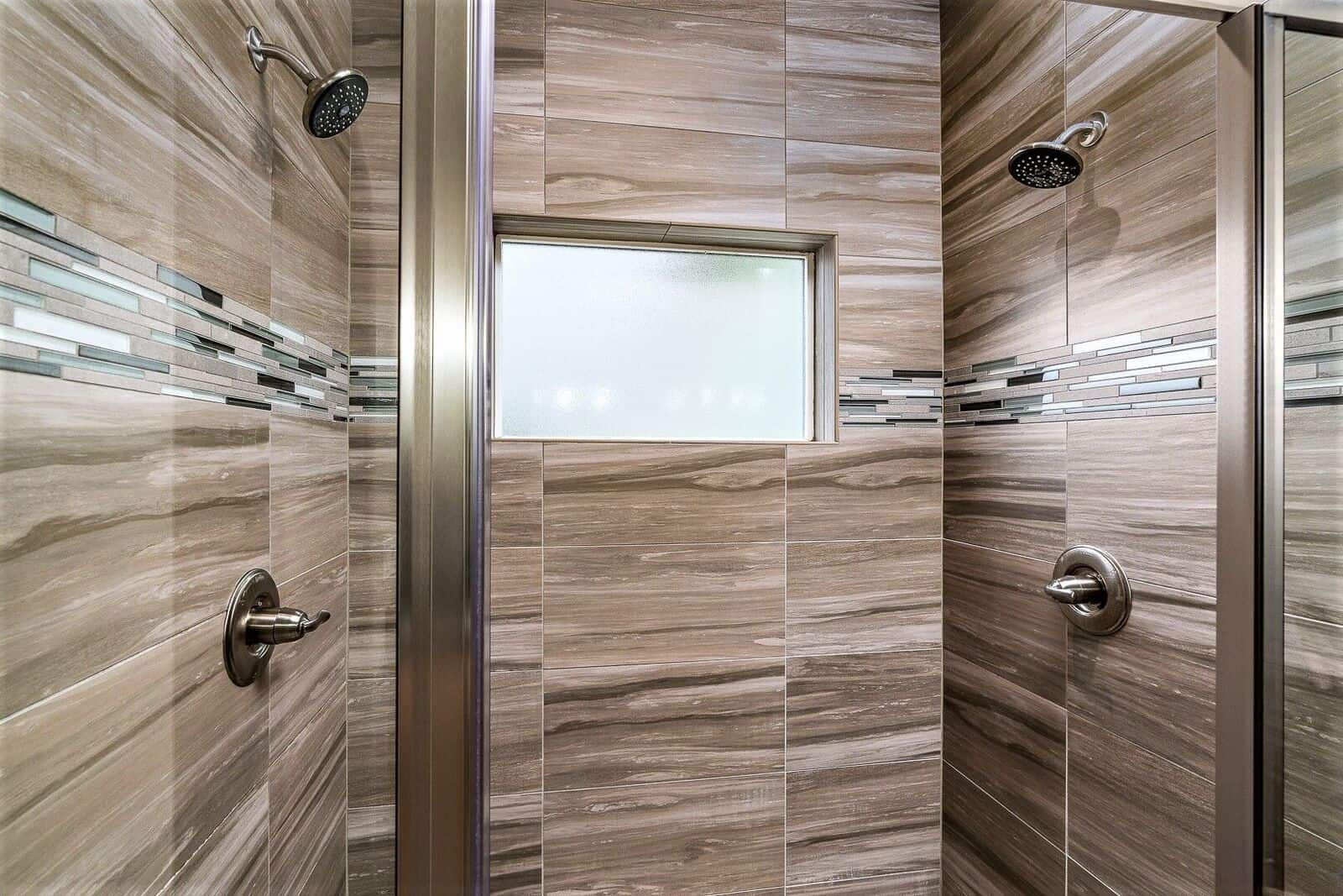 Dual Headed Luxury Shower in Master Bathroom