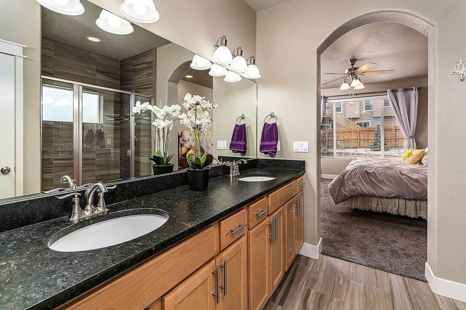 Leather Finish Granite Counters in Master Bathroom