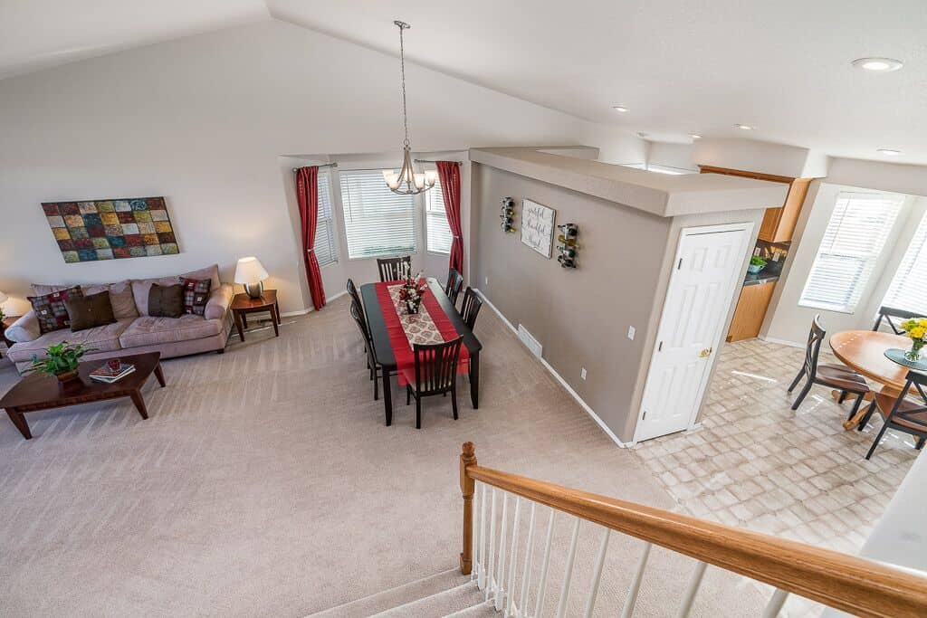 Overlook of Living Room, Dining Room and Nook from Upper Level