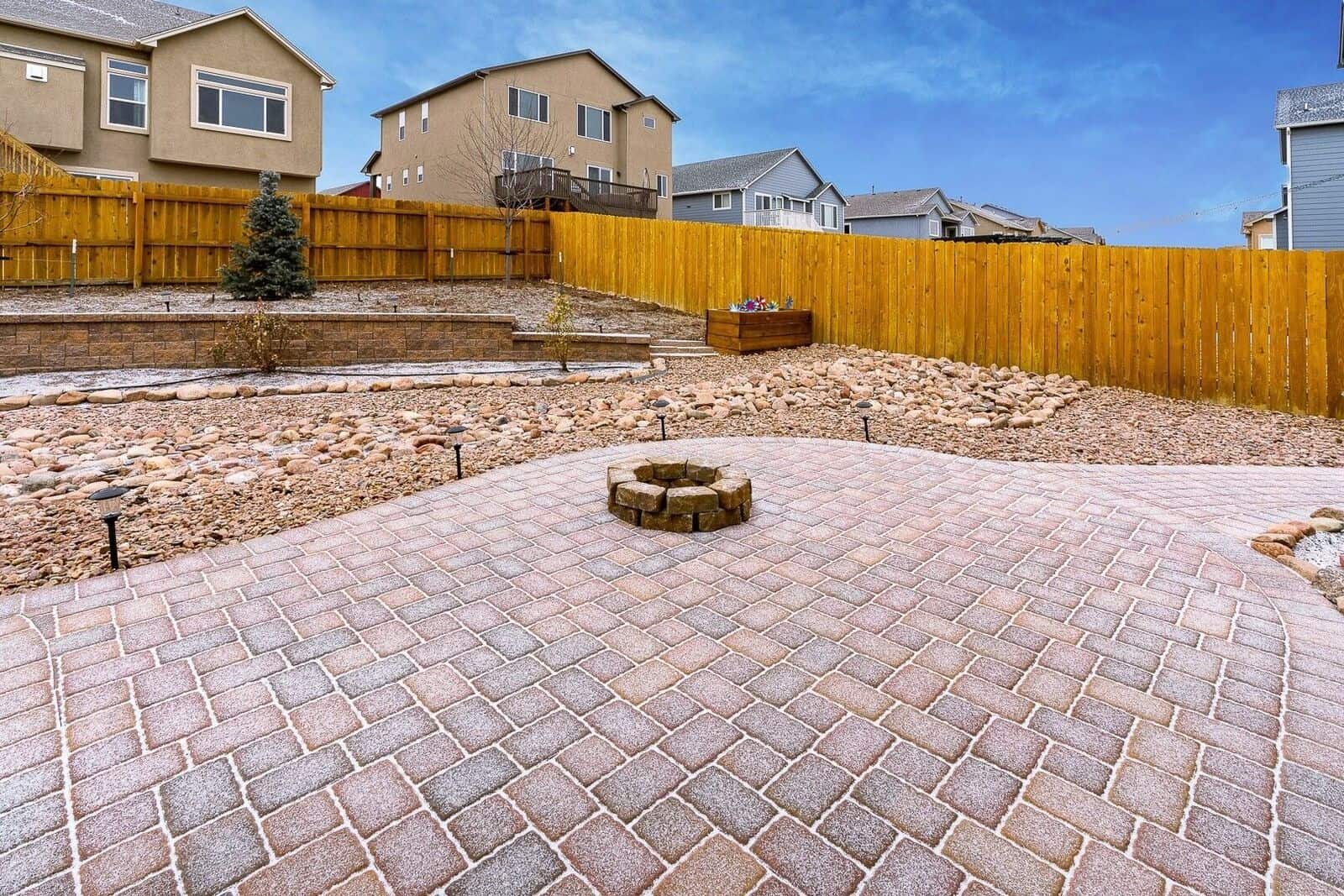 Paver Patio with Walkway to Garage Entry