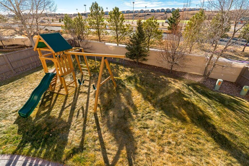 Private Level Yard with Playset