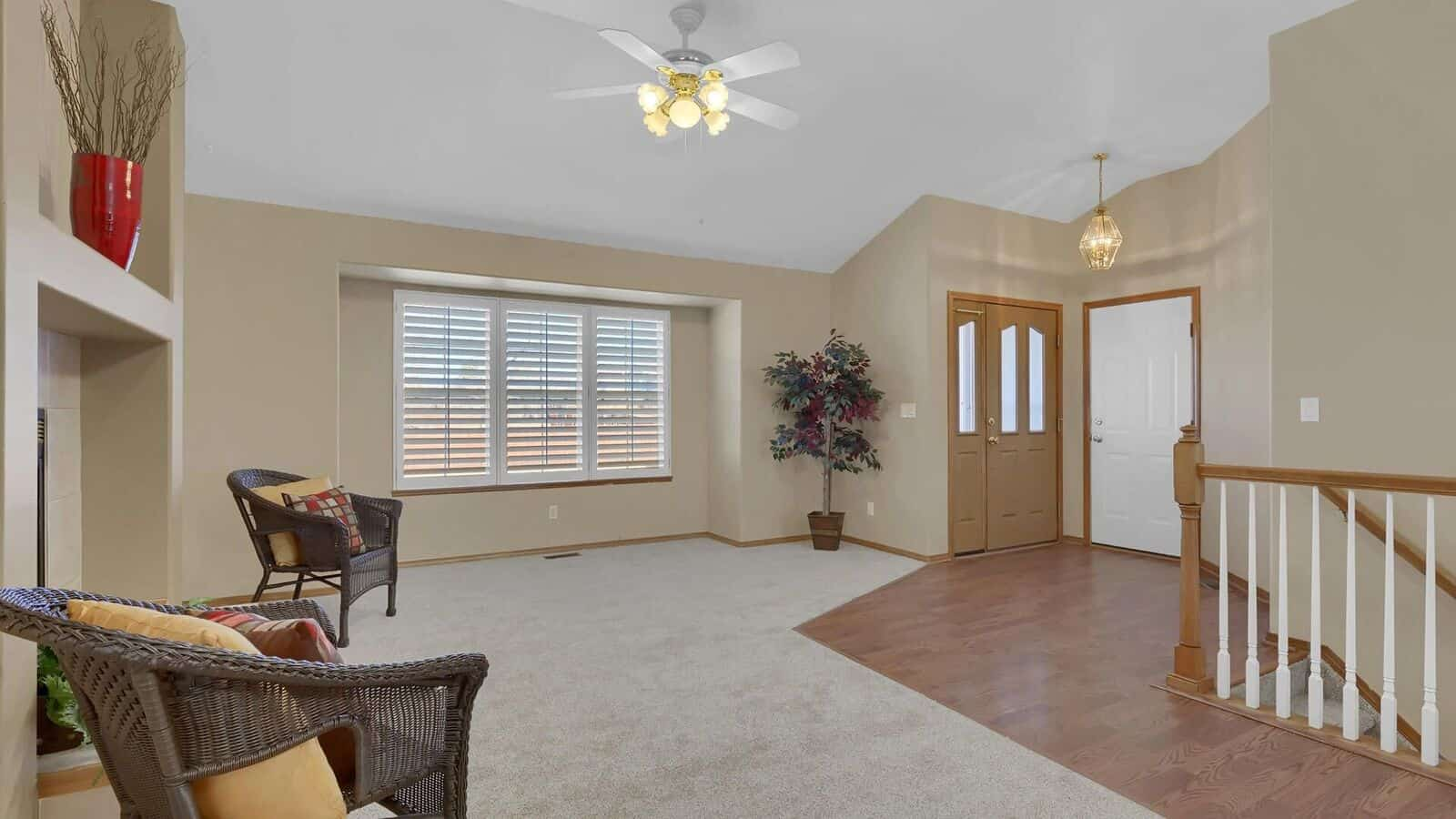 Entry into Living Room and Dining Room