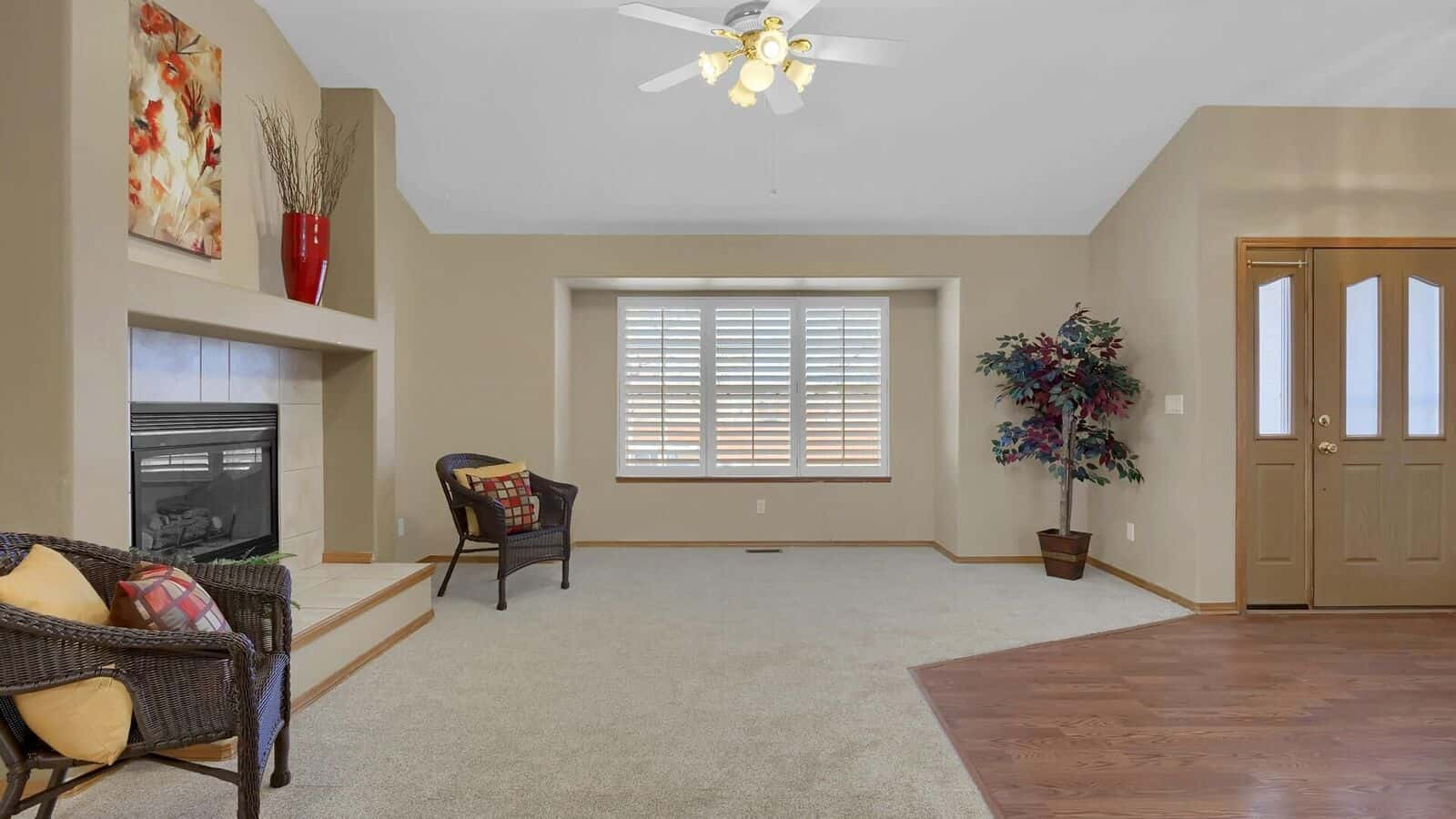 Living Room with Recessed Window and Plantation Shutters