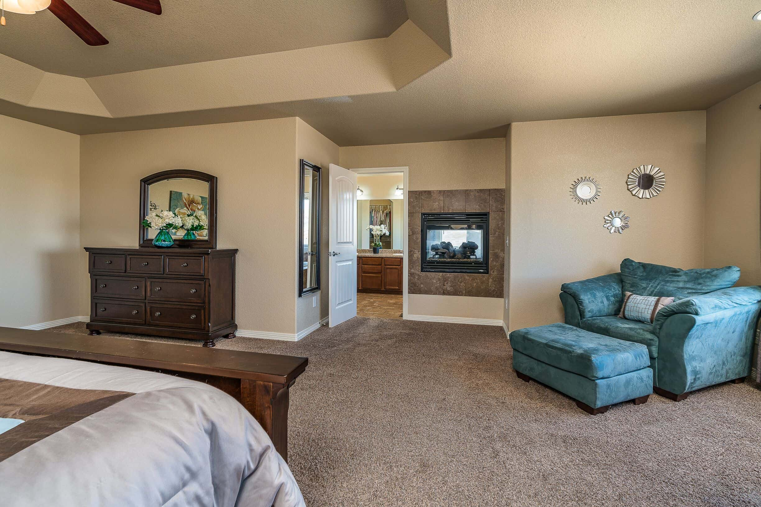 Master Bedroom into Bath and Sitting Area with Pass Thru Fireplace