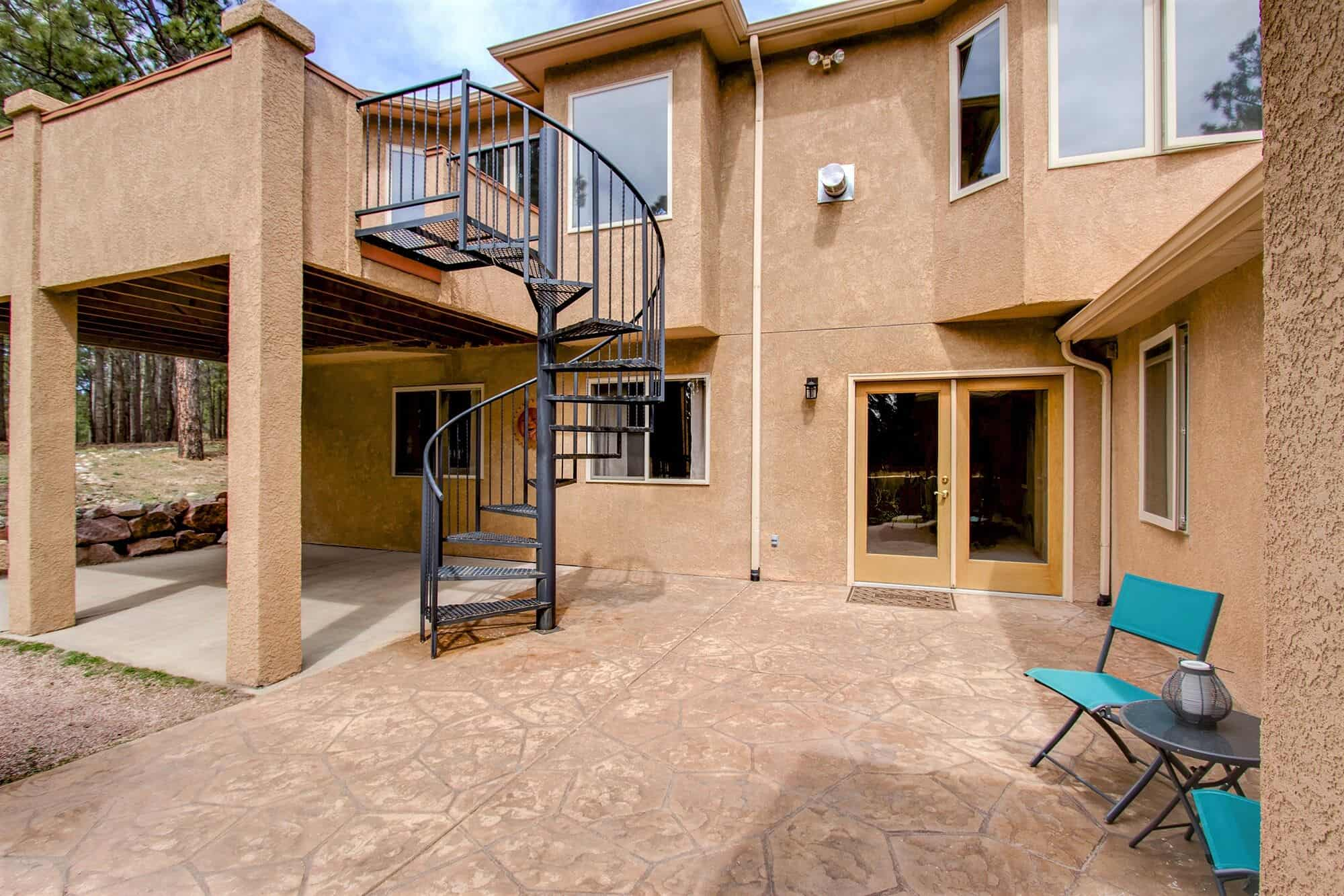 Spiral Stairs from Deck to Patio and Basement Walkout