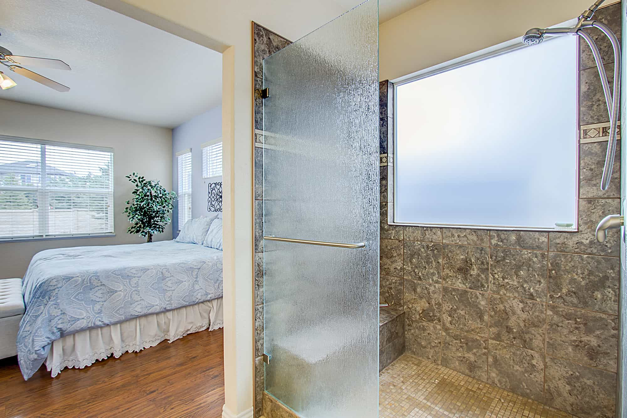 Master Bedroom into Master Shower
