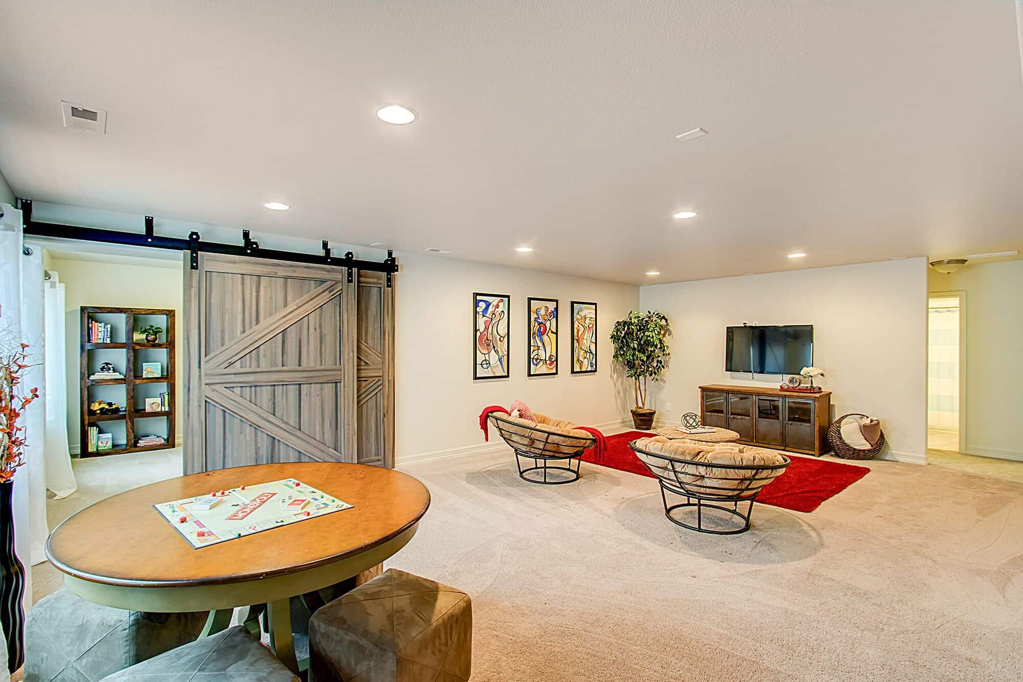 Recreation Room into Office/Flex Room with Barn Doors