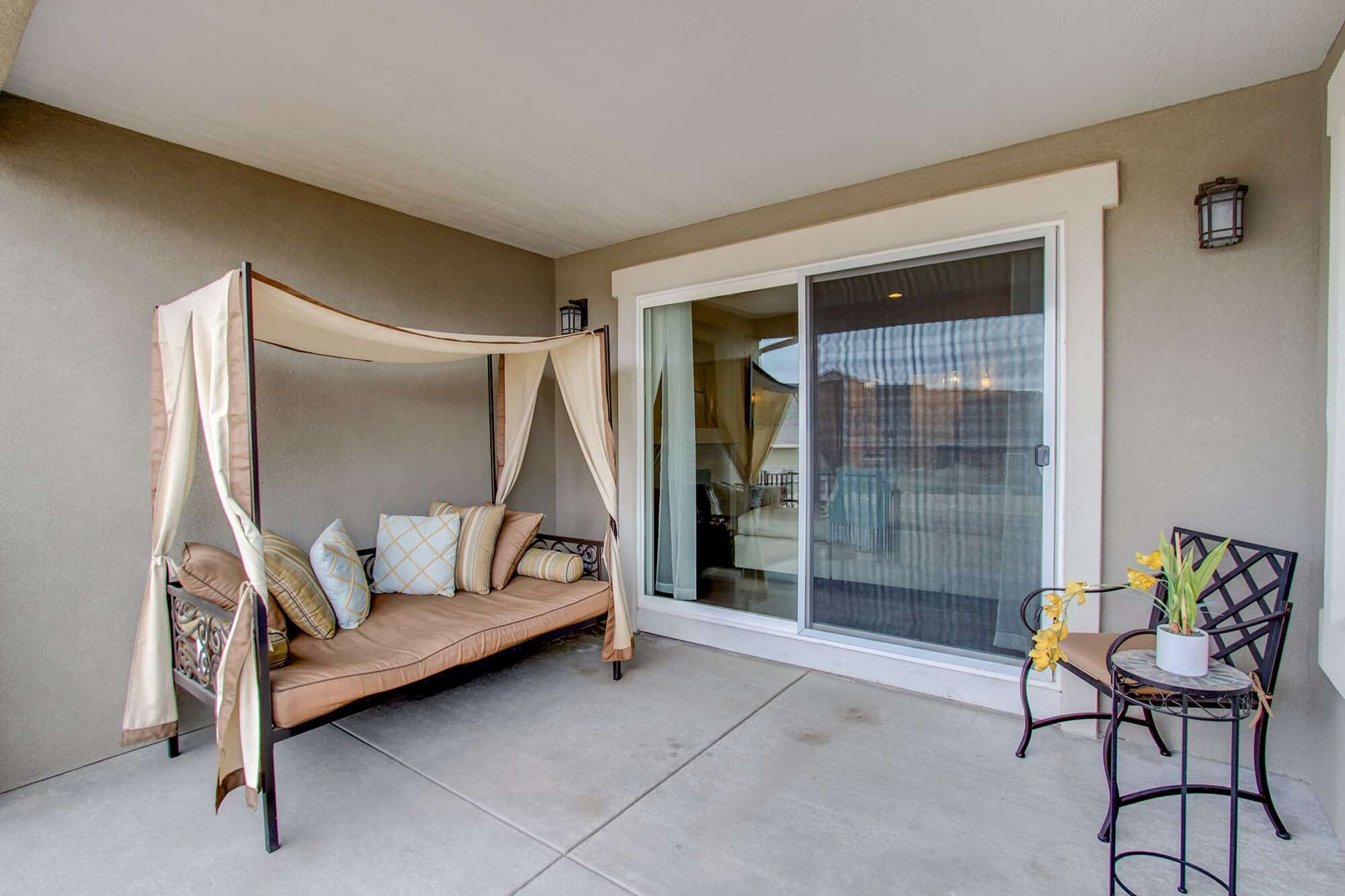 Covered Patio with Peak Views off Great Room