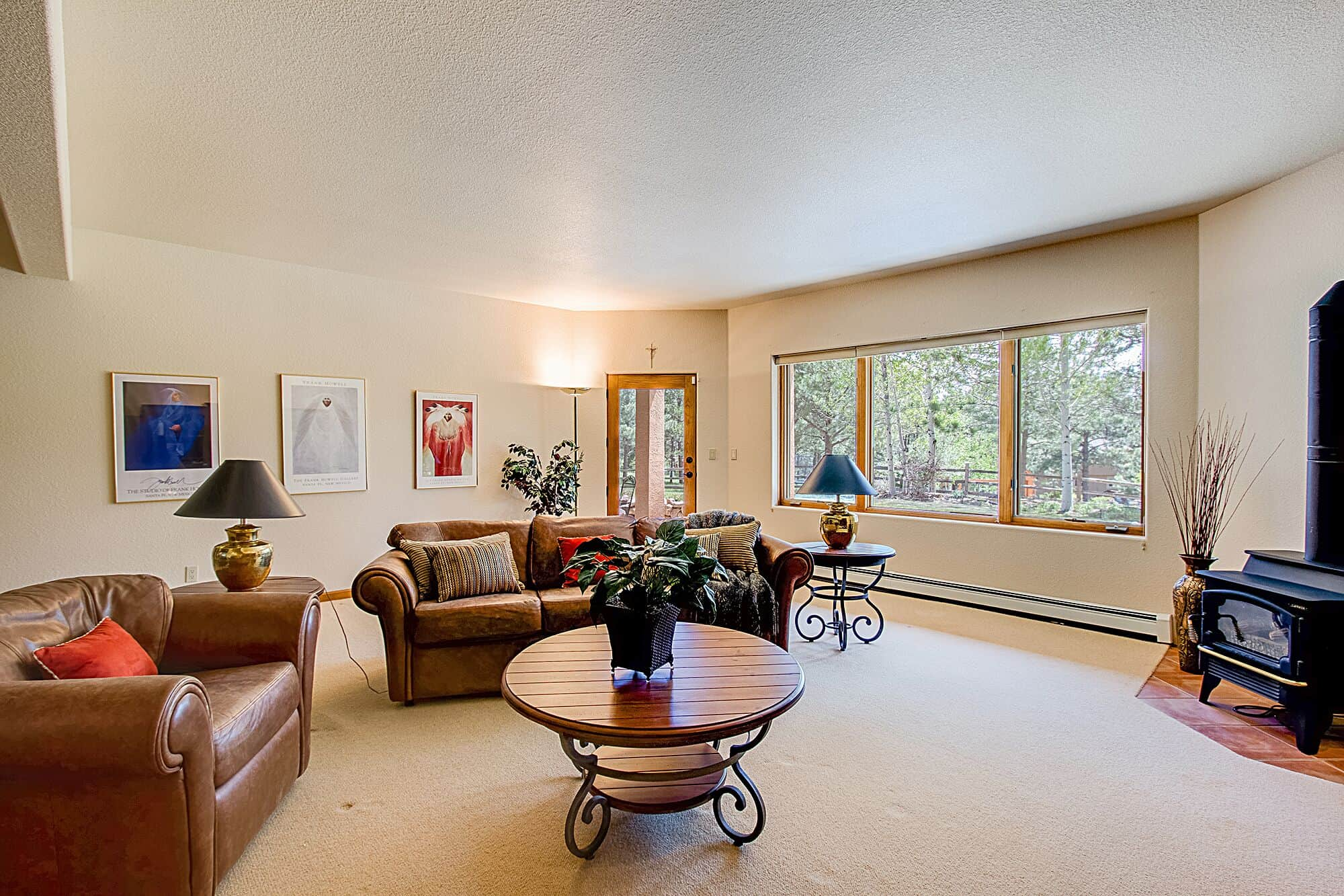 Walk-Out Basement Family Room with Gas Lopi Stove