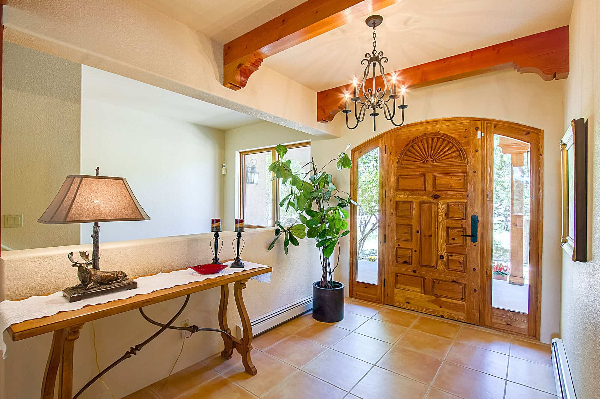 Entry with Hand Carved Door from Santa Fe