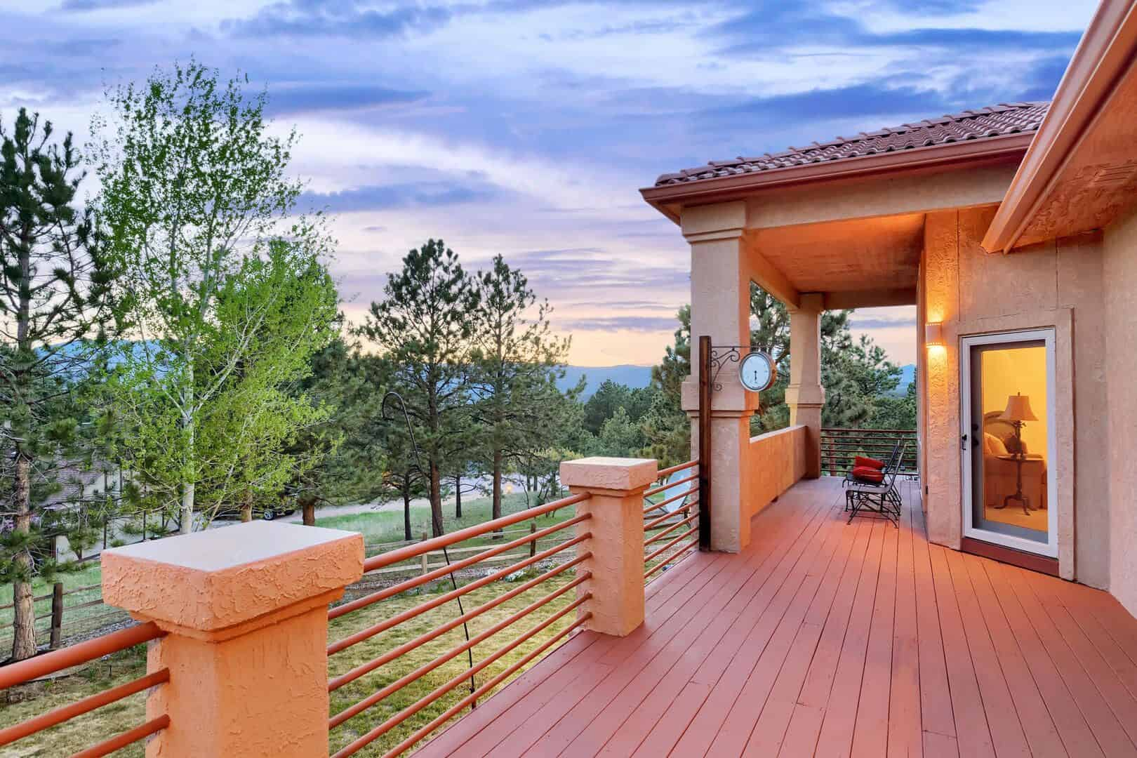 Large Covered and Open Deck Overlooking Trees and Mtn Views