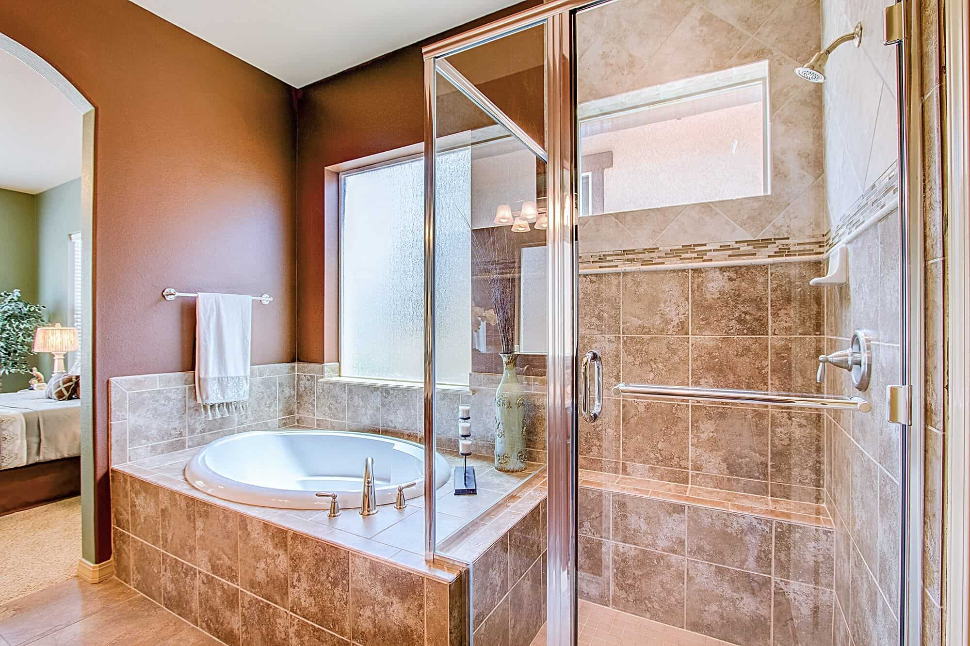 Master Shower and Soaking Tub