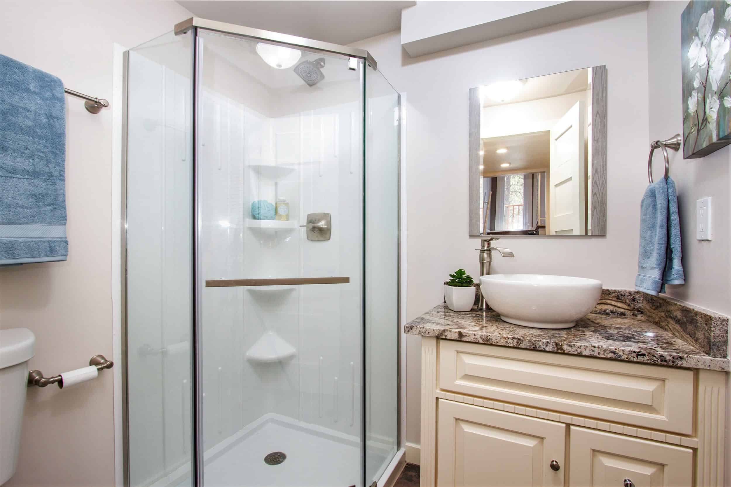Lower Level Bathroom with Corner Shower