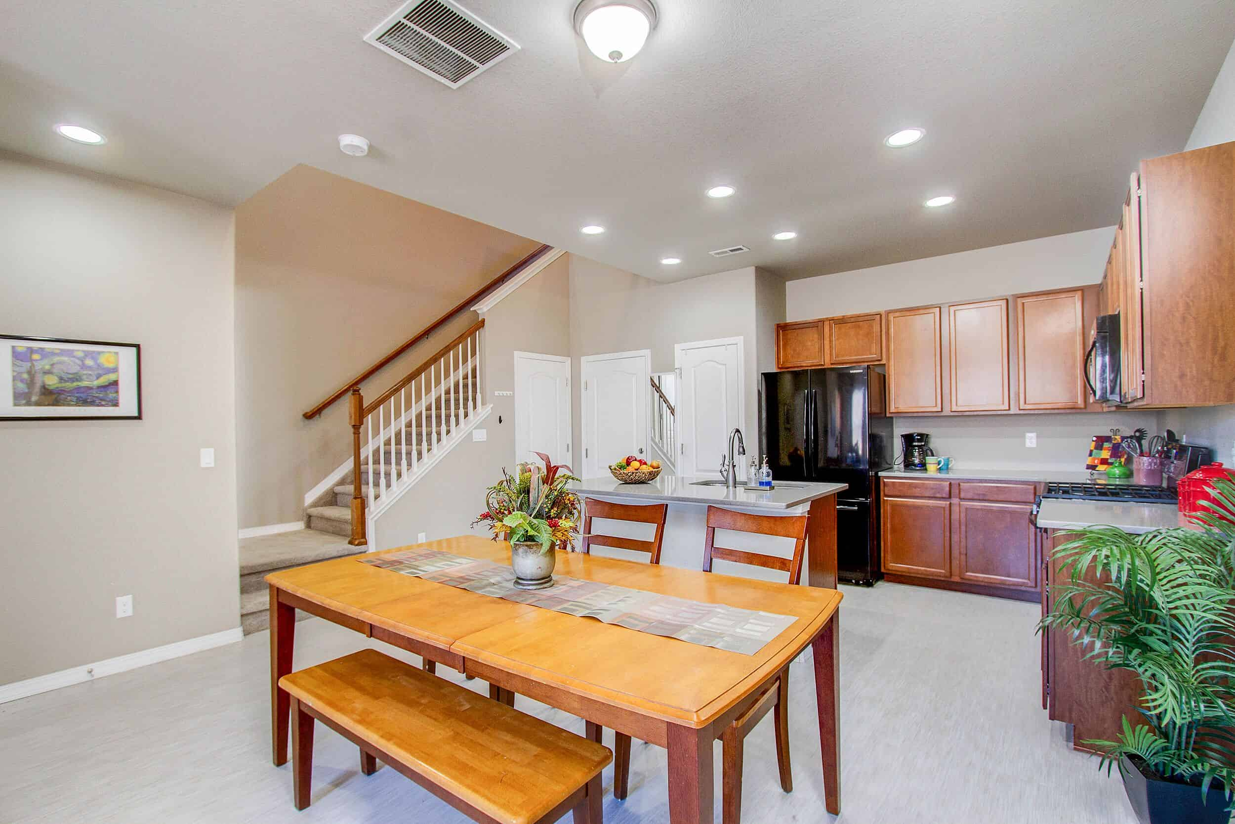 Dining Room, Kitchen and Stairs to Upper Level