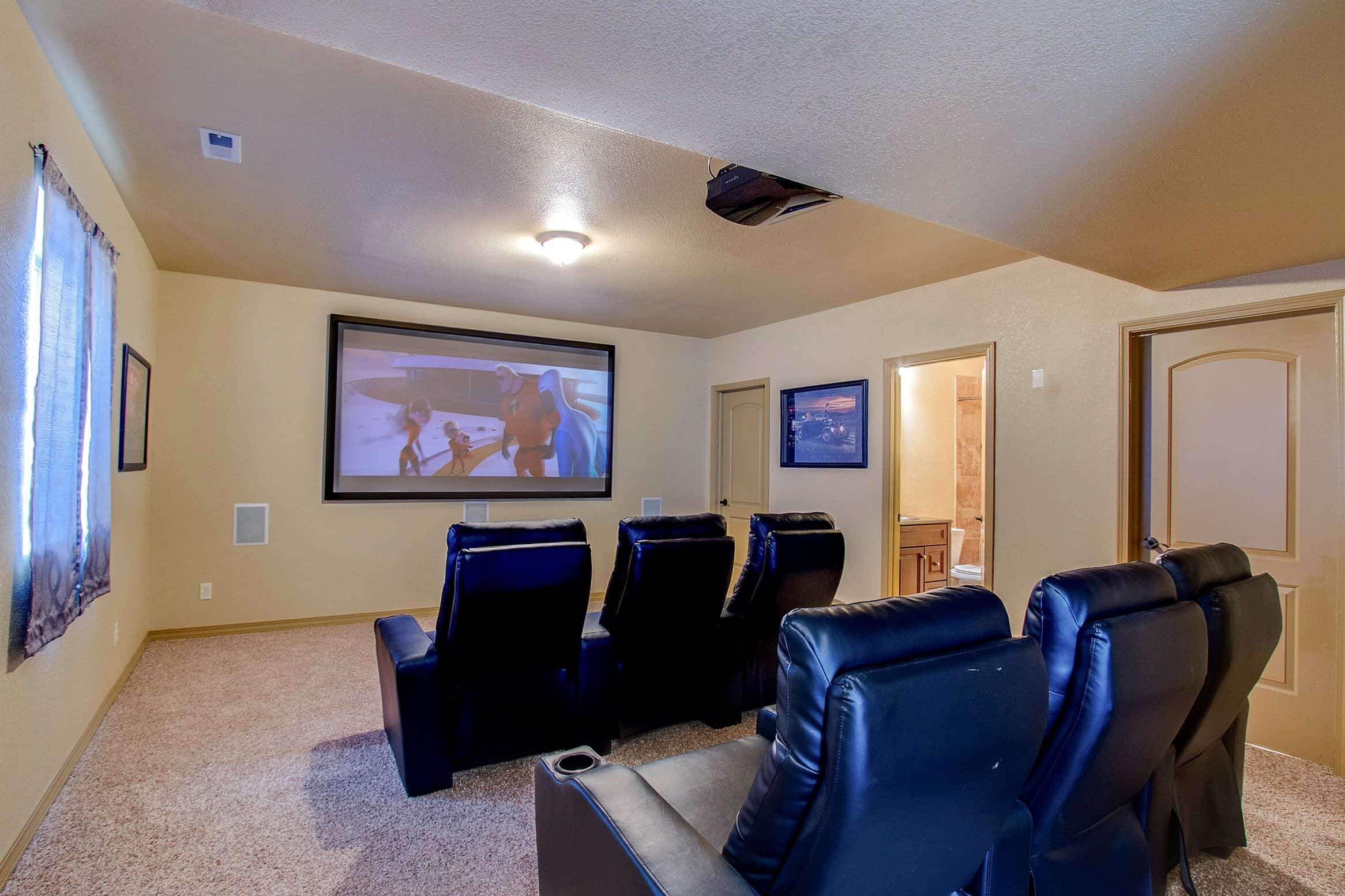 Theater Room with Attached Full Bath