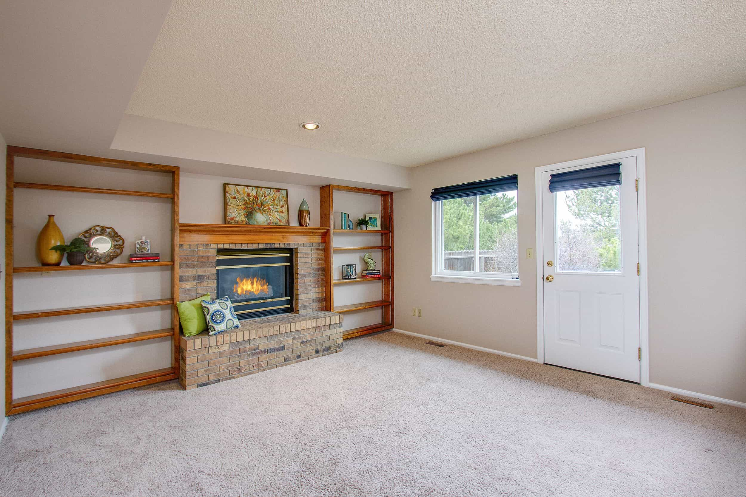 Family Room with Built-Ins and Gas Log Fireplace
